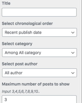 Configuration parameter for selecting / filtering post.